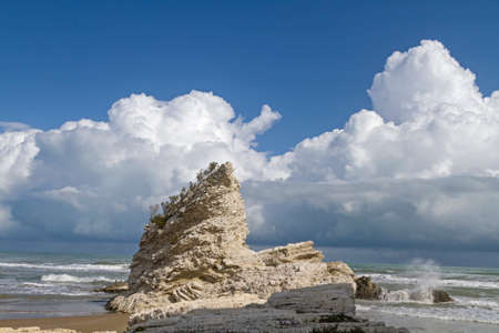 foggia: Wild rock formations on the rocky coast of the Gargano Stock Photo
