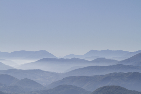 apennines:  Morning mist in the Apennines in Lazio Stock Photo