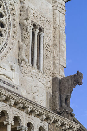 tuscania: Detailed view of the cathedral of San Pietro in Tuscania in Lazio