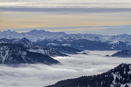 Inversion situation - view from the Brecherspitze r on the fog covered Spitzingsee and the Valley of Valepp