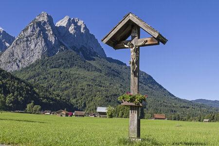 wayside: Idyllic wayside cross in Werdenfels country Stock Photo