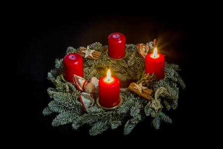 Advent wreath with two burning candles
