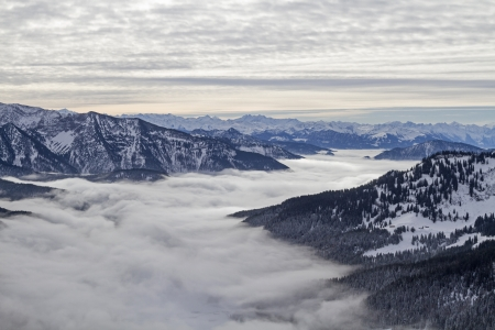 Inversion situation - view on the fog covered lake Spitzingsee and the Valley of Valepp