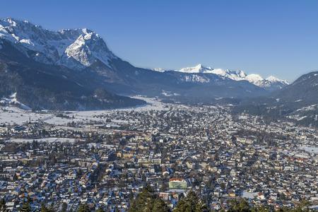 Garmisch Partenkitchen  and mountain Zugspitze in winter Stock Photo