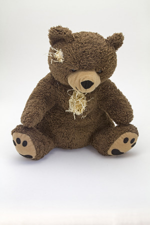 Teddy bear, worn and old - loyal and indispensable companion of many children
