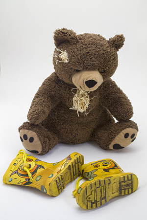 Teddy bear, worn and old - loyal and indispensable companion of many children photo