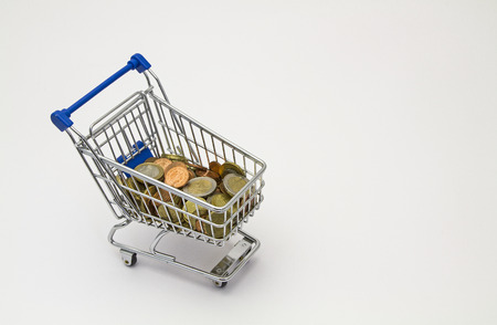 shopping cart with coins in miniature size photo