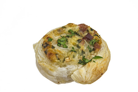 Puff pastry pinwheels filled with ham, cheese and chopped Wild Garlic photo
