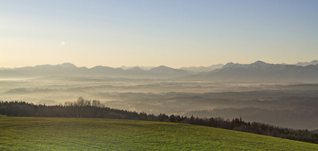 View from Hohenpeissenberg on Bavarian Alps in the early morning photo