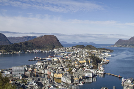 alesund: View from the mountain Aksla on the Norwegian coastal town of Alesund auf die norwegische Küstenstadt Alesund Stock Photo