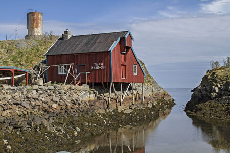 whaling: Old Tran cooking in the village of A at the southern tip of the Lofoten island Moskenosoya  Editorial