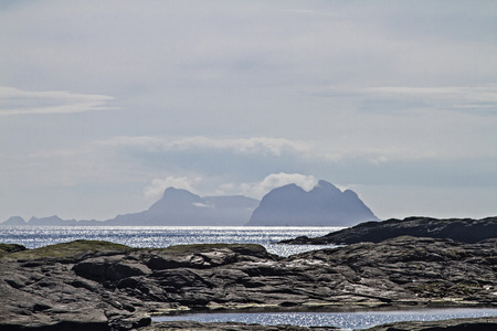 barrier island: View from Lofoten City A on the Atlantic Ocean with the barrier island Vaeroy
