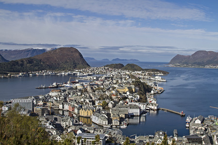 View from the mountain Aksla on the Norwegian coastal town of Alesund Reklamní fotografie