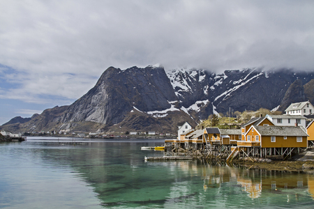Rorbus huts in Sakrisoy - ubiquitous in many locations Lofoten Stock Photo