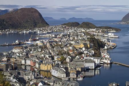 alesund: View from the mountain Aksla on the Norwegian coastal town of Alesund Stock Photo