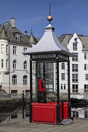 alesund: Norwegian telephone boxes in Alesund Stock Photo