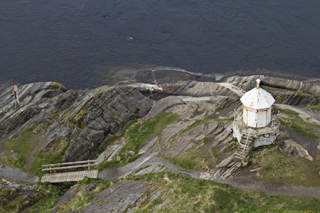 bird 's eye view: Small lighthouse on Salstraumenfjord from bird s-eye view