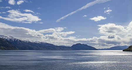 best known: Hardangerfjorden one of the best known and largest fjords on the Norwegian west coast Stock Photo