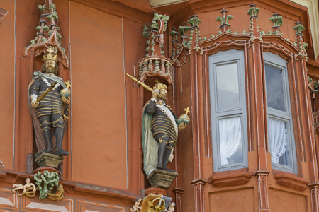 guild hall: Detail on the historic Guildhall Kaiser Worth which is since 1484 on the market square in Goslar