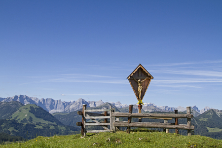 piety: The wayside cross on the saddle between Juifen and Demmeljoch in the Bavarian Alps