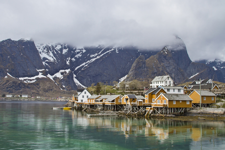 Rorbuers huts in Sakrisoy - ubiquitous in many locations Lofoten