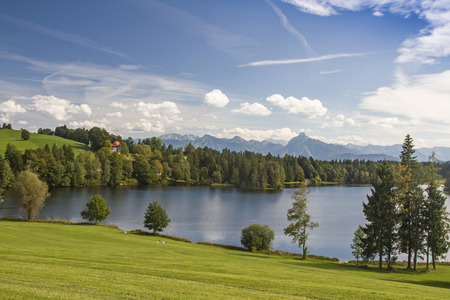 allgau: The Schwalten pond in allgaeu is an idyllic lake which is used today as a bathing lake and fish farming