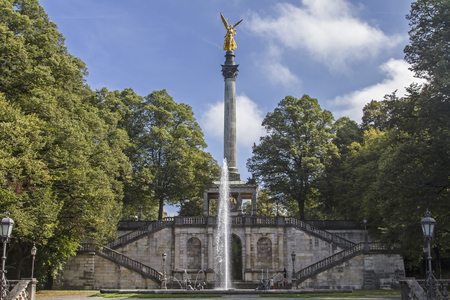 prince of peace: The Angel of Peace, a memorial in Munich is golden and six meters high and is located on a column in Corinthian style Editorial