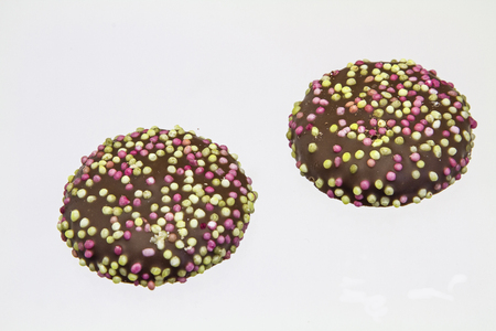be missing: Chocolate cookies with colored sprinkles may be missing in the Advent and Christmas period on any cookie plate Stock Photo