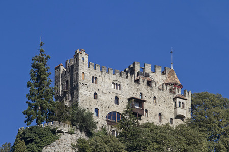 meran: The fountain castle near Meran in South Tyrol, was rebuilt in 1900 on the remains of a ruined medieval building in the historic style. Editorial