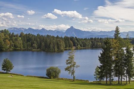L'étang Schwalten dans allgaeu est un lac idyllique qui est utilisé aujourd'hui comme un lac de baignade et de la pisciculture Banque d'images - 33276704