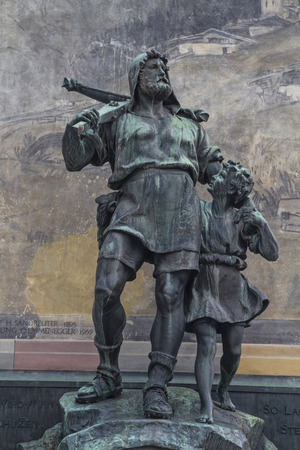 Wilhelm Tell monument in the square of the cantonal capital of Altdorf in the Canton of Uri