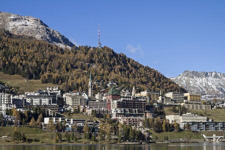 St. Moritz - exclusive ski resort in the Engadine with Moritz lake Reklamní fotografie