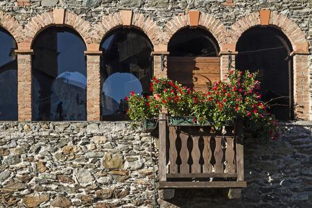 Idyllic house detail in the village Sass Ella in Valtellina