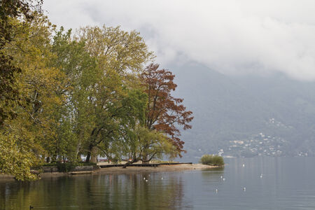 lakefront: Autumn mood on the lakefront in Lugano Stock Photo