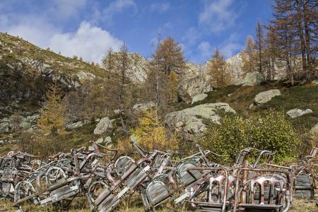 station ski: Permitted ski lift station in Presanellagebirge - filth and rubbish in the Adamello and Presanella National Park Editorial