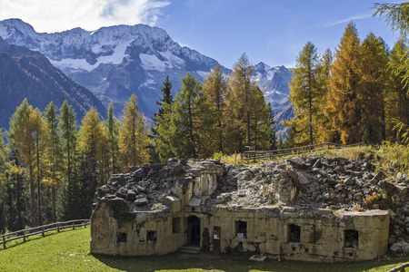 world war 1: Intermediate work Mero - one of the many forts around the Passo Tonale dates from the time of World War 1 Stock Photo