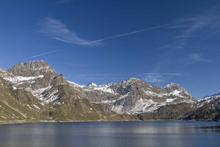 The Lago Ritom is a storage lake in Piora valley in Ticino. Reklamní fotografie
