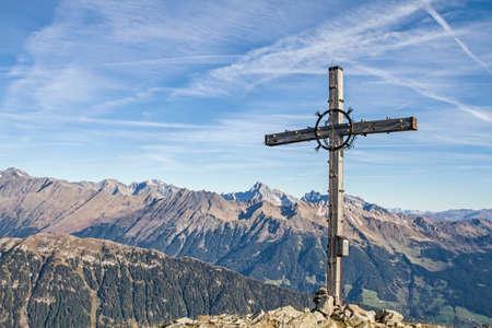 tyrol: Summit cross of Jaufenspitze in South Tyrol Stock Photo