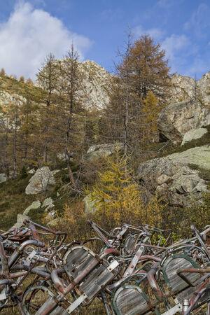 station ski: Abandoned ski lift station in the Presanella mountains - filth and rubbish in the Adamello and Presanella National Park Stock Photo