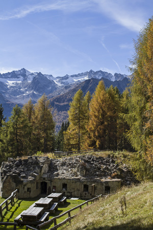 intermediate: Intermediate work Mero - one of the many forts around the Passo Tonale dates from the time of World War 1 Stock Photo