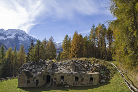 world war 1: Mero - one of the many forts around the Passo Tonale dates from the time of World War 1 Stock Photo