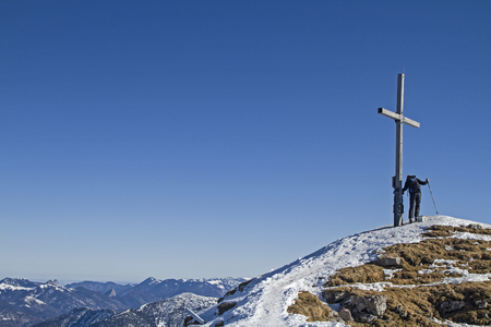 mountaineer: Mountaineer on the summit of sheep Reuters in the Karwendel mountains