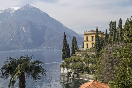 shores: Villa Cipressi on the shores of Lake Como Stock Photo