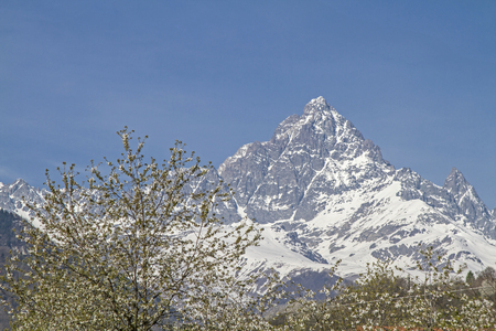 monte: Monte Viso is a three-thousand in the Cozie Alps near the border with France Stock Photo