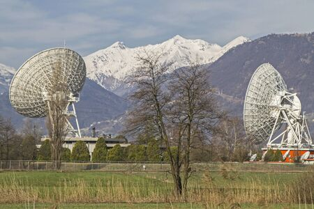 spagna: Parabolic antennas in otherwise deserted nature reserve Pian di Spagna north of Lake Como