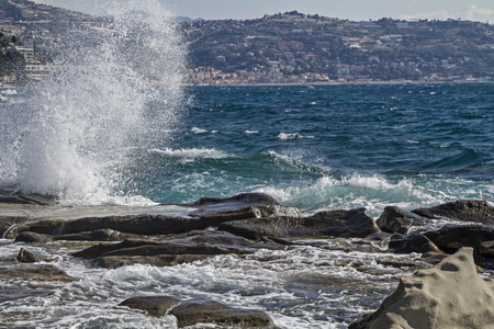 swell: Moving swell in Bordighera on the Italian Riveira
