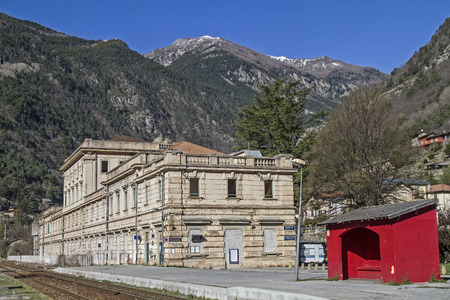 pompous: Station in San Dalmas de Tende - martial and pompous building in the small village on the French border with Italy