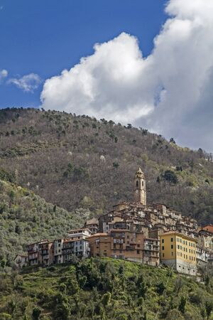 apennines: Castel Vittorio -  popular destination in the Ligurian Apennines Stock Photo
