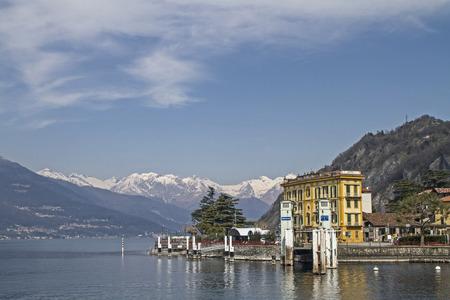 lake como: Varenna - Ship ferry pier on Lake Como