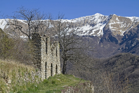 church ruins: Church ruins in the small historical village of Triora in Ligurian Apennines